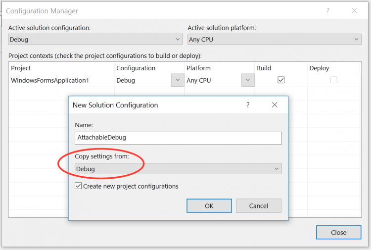 "Visual Studio's configuration manager dialog with the ""New Solution Configuration"" dialog in front of it and the ""Copy Settings From"" option highlighted."