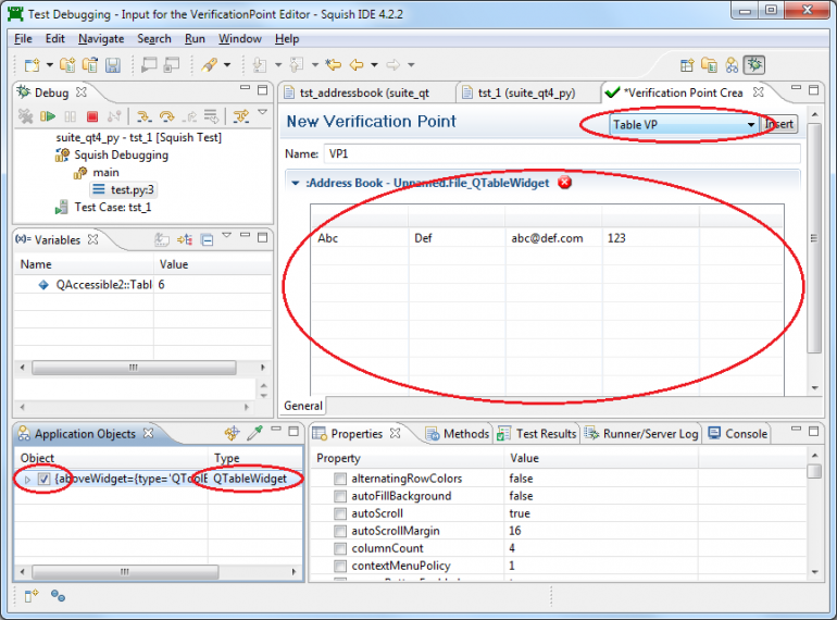 ... Tool Squish makes it possible to verify entire tables using a table  verification point, but there are times when the requirements of a test  case make it ...