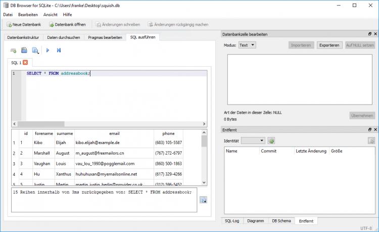 SQLite driven testing using Javascript