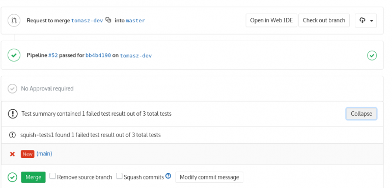 View Squish Test results of merge requests in GitLab • froglogic