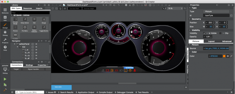 Qt Safe Renderer Utilized in an Automotive Cockpit