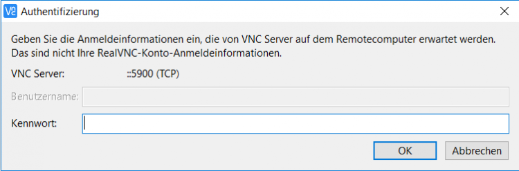 (RealVNC) VNC Viewer Login Dialog