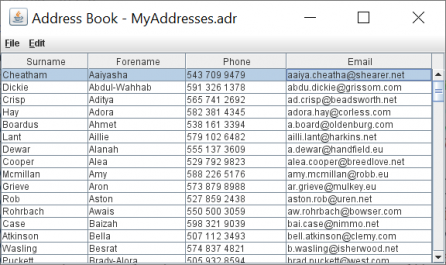 recorded columns address book