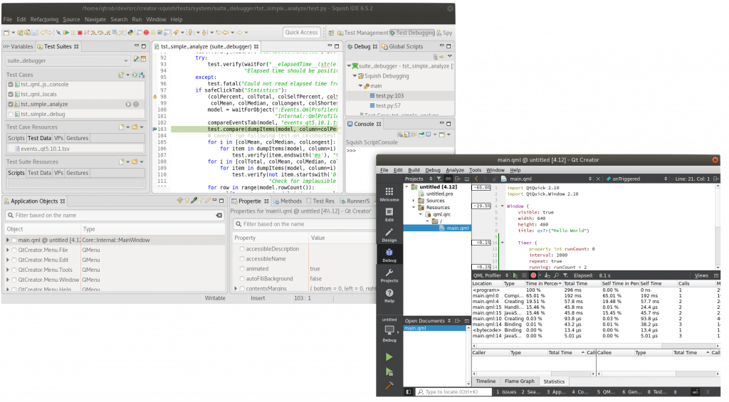 Qt Creator IDE and Squish IDE on Linux