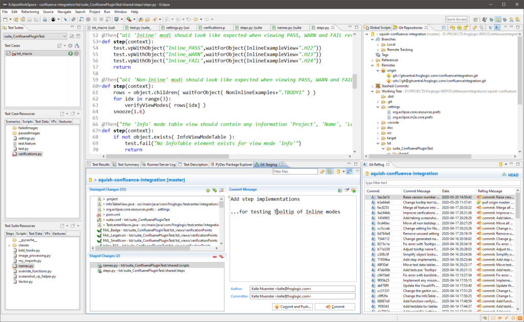 Eclipse IDE, showing the Git integration for developing Squish GUI tests.