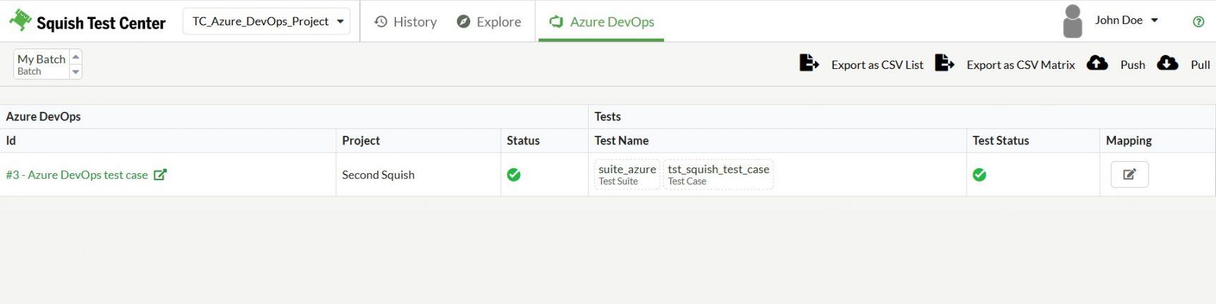 Tracability View Squish Test Center Azure DevOps