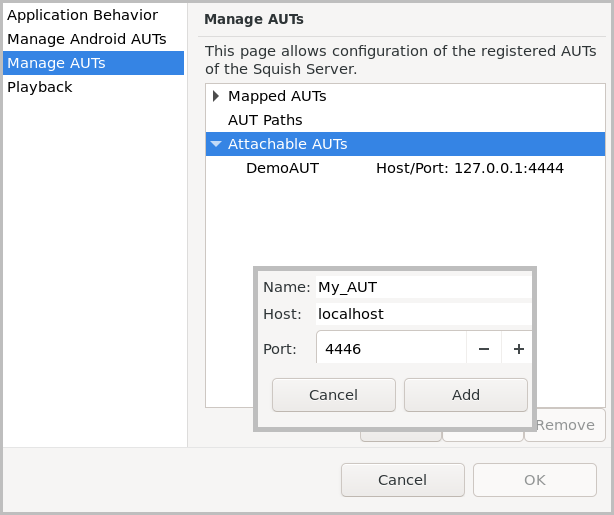 Squish IDE Manage AUTs dialog